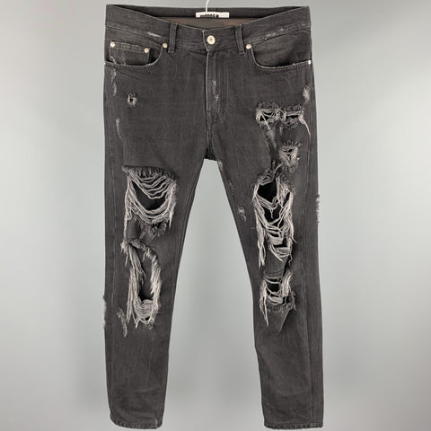 MSGM Size 30 Black Distressed Denim Zip Fly Jeans
