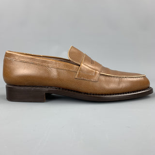 GIORGIO ARMANI Size 7 Tan Textured Leather Penny Loafers