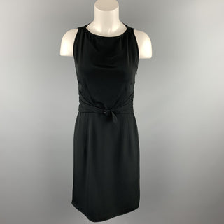 VALENTINO Size 6 Black Acetate / Silk Sleeveless Sheath Cocktail Dress