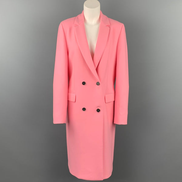 MSGM Size 8 Pink Polyester / Wool Notch Lapel Double Breasted Coat