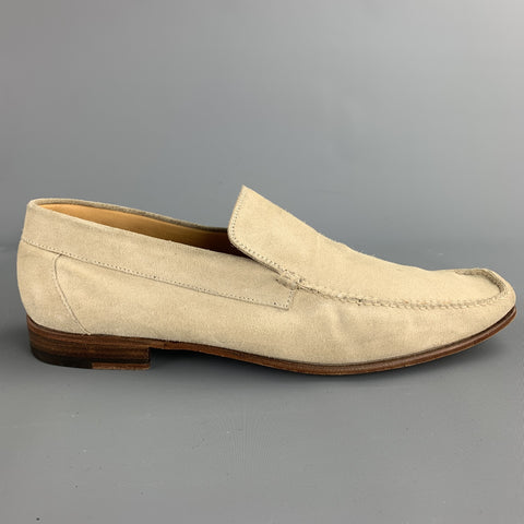 SUTOR MANTELLASSI Size 11 Natural Suede Slip On Loafers