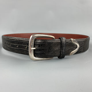 RALPH LAUREN Size 32 Black Textured Lizard Belt