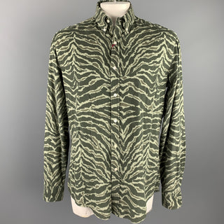 MICHAEL BASTIAN Size XXL Olive Print Cotton Button Down Long Sleeve Shirt