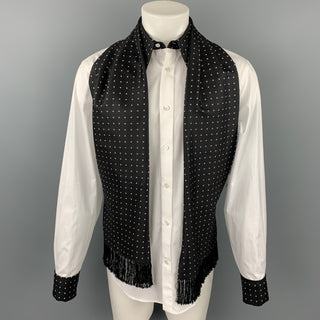 ALEXANDER MCQUEEN Size M White & Black Dots Cotton / Silk Long Sleeve Shirt