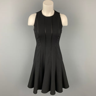 RALPH LAUREN Black Label Size S Black Wool Leather Drop Waist Cocktail Dress