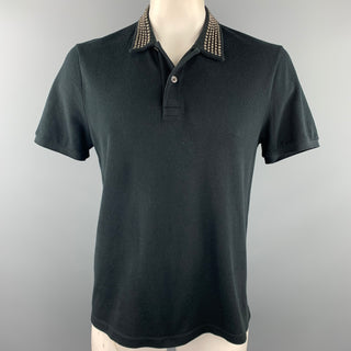 GUCCI Size XXL Black Blind For Love Studded Pique Buttoned