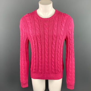 RALPH LAUREN Size M Pink Cable Knit Tussah Silk Crew-Neck Sweater