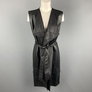 ST. JOHN Size S Black Draped Leather Front Wool Blend Knit Back Vest Coat