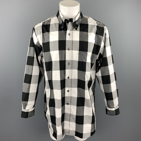 BEAMS Size S Black & White Checkered Cotton Button Down Long Sleeve Shirt