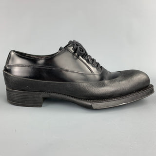 PRADA Size 9.5 Black Leather Lace Up Dress Shoes