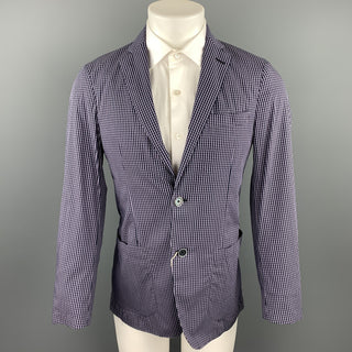 CORNELIANI Size 36 Navy & Lavender Plaid Cotton Blend Sport Coat
