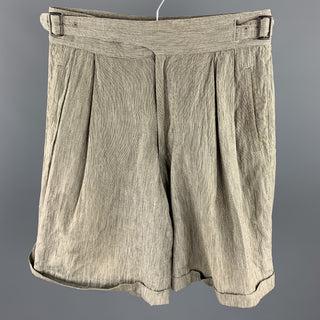 Vintage ISSEY MIYAKE Size S Taupe Heather Cotton / Linen Side Tabs Shorts