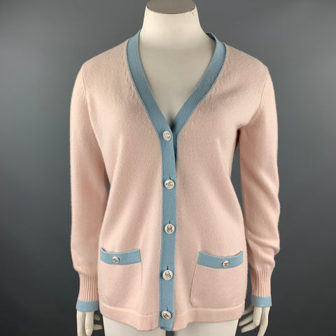 CHANEL Size 10 Pink Knitted Blue Trim Cashmere Cardigan