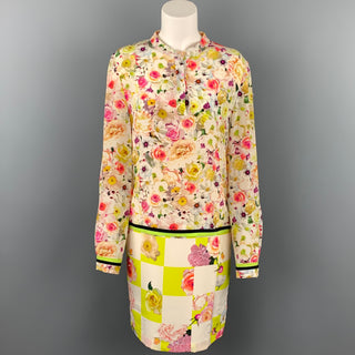 MSGM Size M Multi-Color Floral Long Sleeve Shift Dress