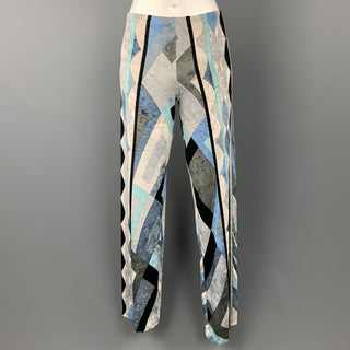 EMILIO PUCCI Size 6 Blue & Gray Print Velour Pants