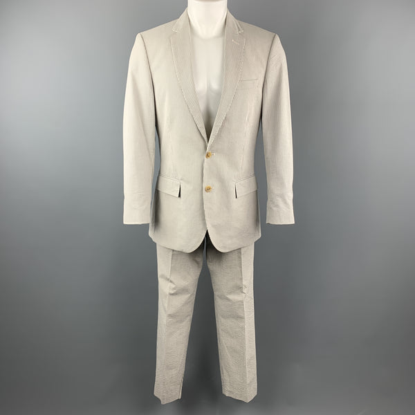 J. CREW 39 Regular Grey & Cream Stripe Seersucker Suit