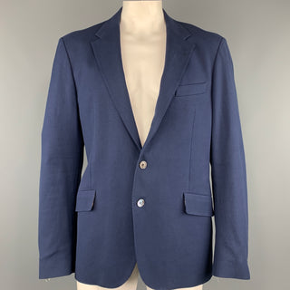 PAUL SMITH Chest Size 44 Woven Navy Cotton / Elastane Notch Lapel Sport Coat