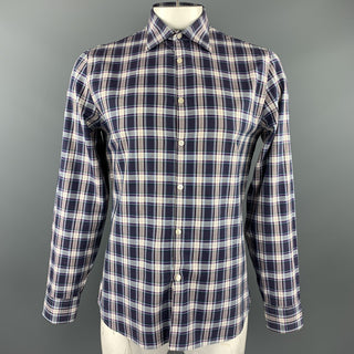 J. LINDEBERG Size L Purple Plaid Cotton Button Up Long Sleeve Shirt