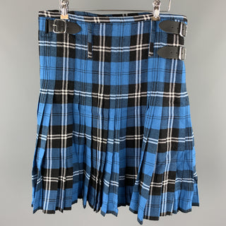WENCHES AT WORK CREATION Size 34 Blue & Black Plaid Acrylic Kilt
