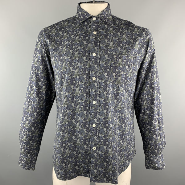 HARTFORD Size M Navy & Grey Floral Cotton Button Up Long Sleeve Shirt