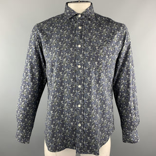 HARTFORD Size L Navy & Grey Floral Cotton Button Up Long Sleeve Shirt