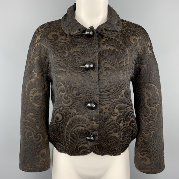 LANVIN Size 4 Black & Brown Brocade Cropped Jacket