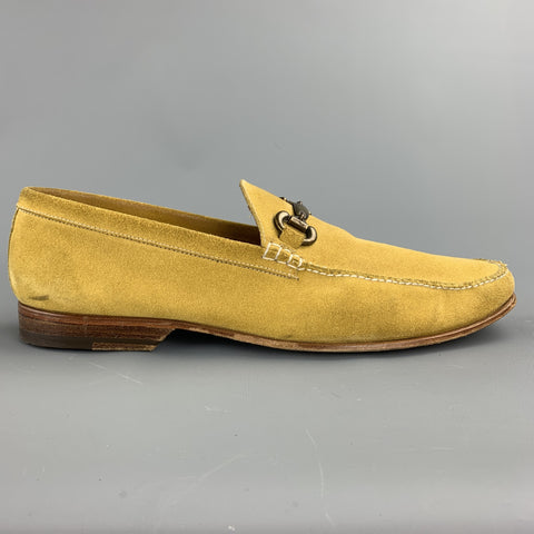 BARRETT Size 11 Yellow Suede Horsebit Loafers