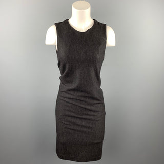 HALSTON Size 4 Charcoal Heather Virgin Wool Blend Sleeveless Sheath Dress
