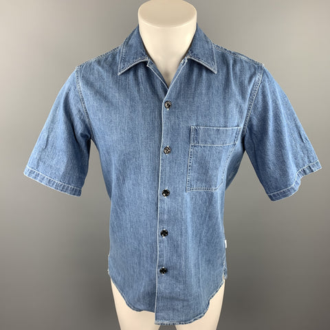 AMI by ALEXANDRE MATTIUSSI Size S Indigo Contrast Stitch Denim Short Sleeve Shirt