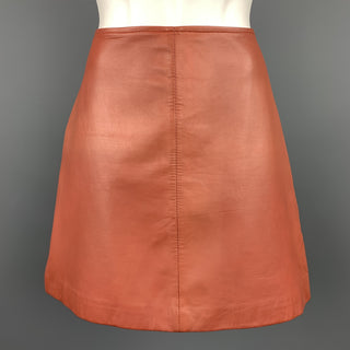 REISS Size 4 Brick Leather Lamb Skin Mini Skirt