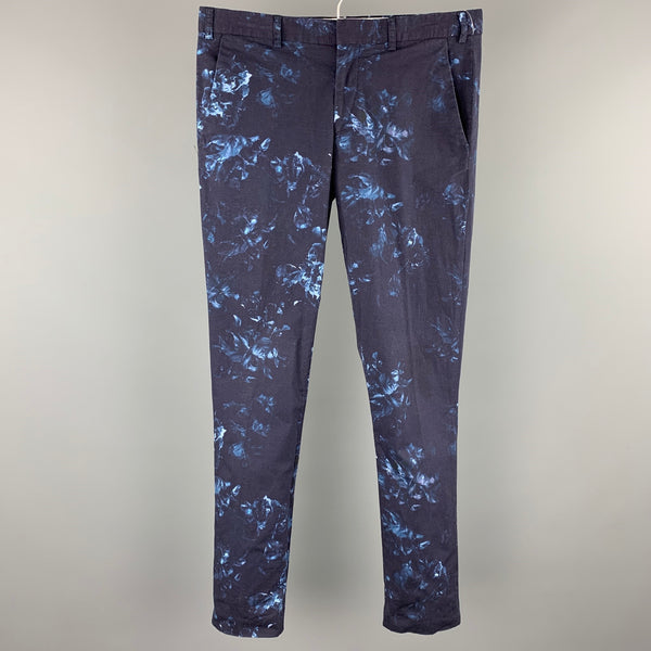 PS by PAUL SMITH Size 32 Navy Print Cotton Zip Fly Casual Pants