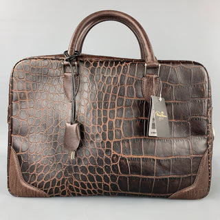 PAUL SMITH The British Collection Brown Embossed Leather Laptop Bag Bags