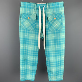 COMME des GARCONS GANRYU Size S Aqua Plaid Wool / Nylon Elastic Waistband Casual Pants