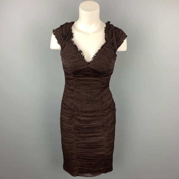 TADASHI Size 6 Brown Ruched Silk V-Neck Sleeveless Cocktail Dress