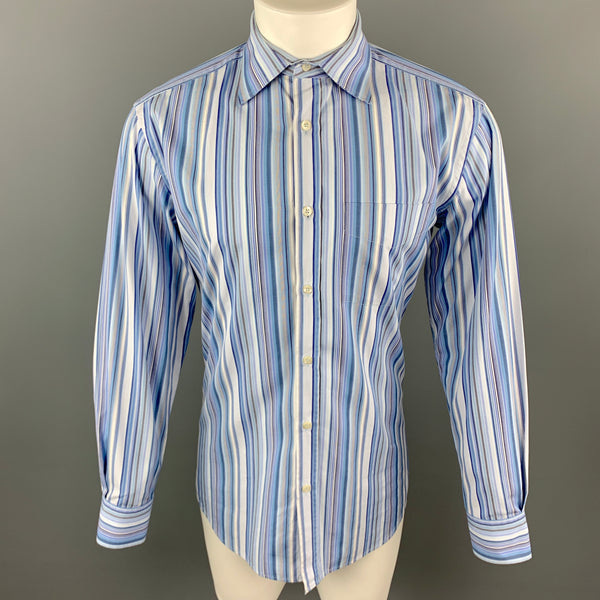 PAUL SMITH Size M Blue Stripe Cotton Long Sleeve Shirt