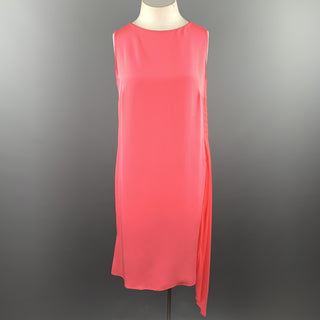 AKRIS Size 12 Pink Silk Chiffon Sleeveless Side Pleat Shift Dress