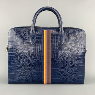 PAUL SMITH Navy Crocodile Embossed Leather Laptop Case Briefcase