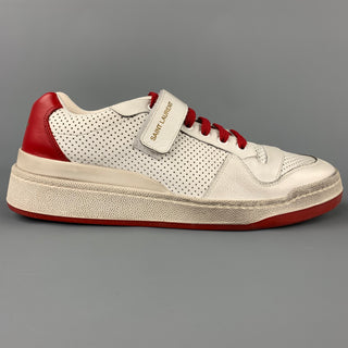 SAINT LAURENT Size 9 White & Red Perforated Leather Low Top Sneakers