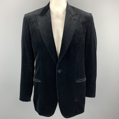 BRIONI Size 44 Regular Black Two Toned Cotton Velvet Peak Lapel Sport Coat