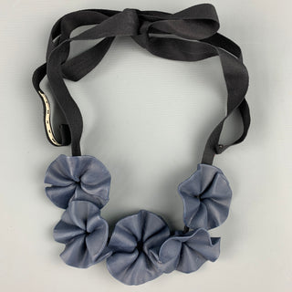 MARNI Blue Vinyl Floral Ribbon Necklace