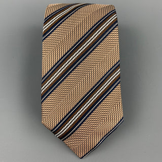ERMENEGILDO ZEGNA Brown & Navy Diagonal Stripe Silk Tie