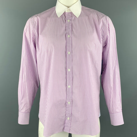 MICHAEL BASTIAN Size L White & Purple Stripe Cotton Button Up Long Sleeve Shirt