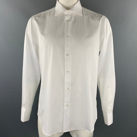 CARUSO for UMAN Size L White Cotton French Cuff Long Sleeve Shirt