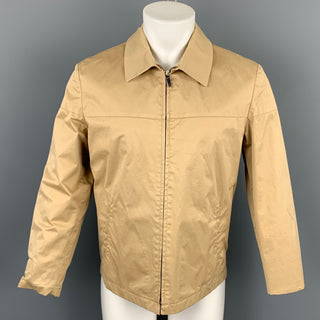LANVIN Size L Khaki Cotton Blend Stiff Paper Collared Work Jacket