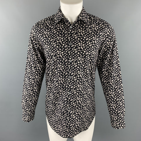 PAUL SMITH The Westbound Size S Black & White Floral Cotton Button Up Long Sleeve Shirt