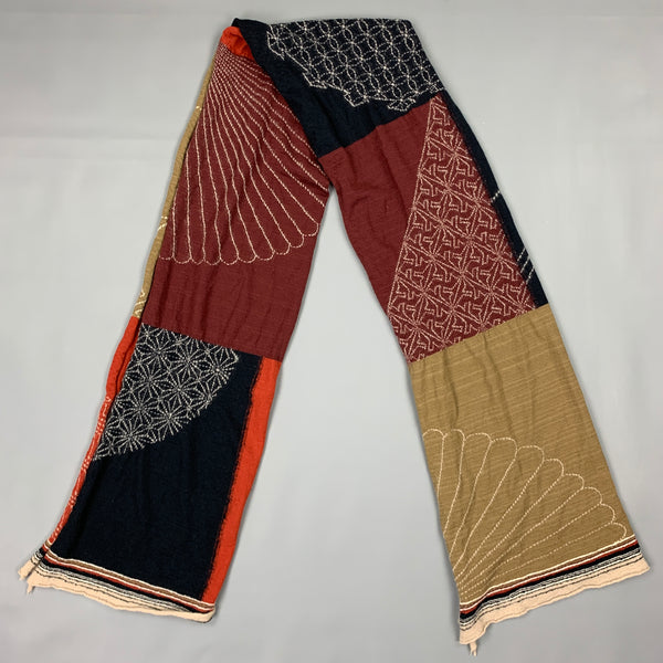 KAPITAL Brown & Black Embroidered Wool Scarf