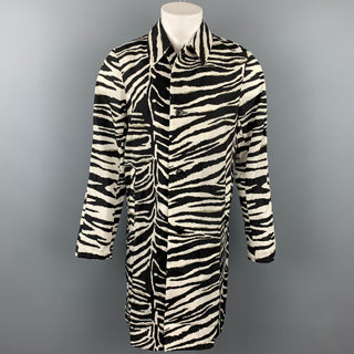 DRIES VAN NOTEN S/S 20 Size 34 Black & White Zebra Polyamide Raincoat