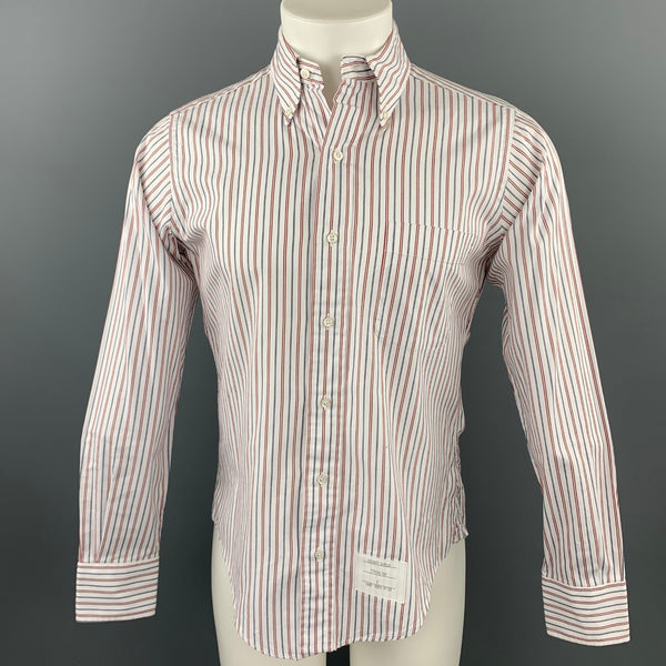 THOM BROWNE Size M Red White Blue Stripe Cotton Button Down Long Sleeve Shirt