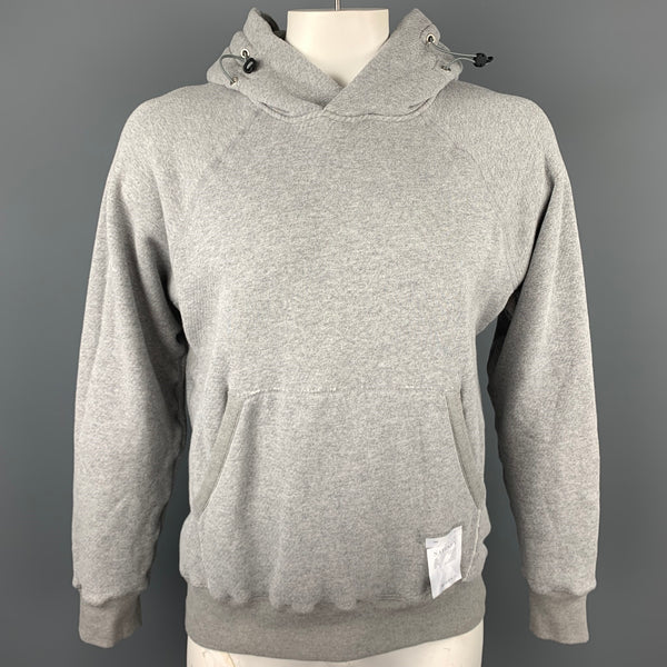 SATISFY Size L Light Gray Cotton Jogger Hooded Sweatshirt