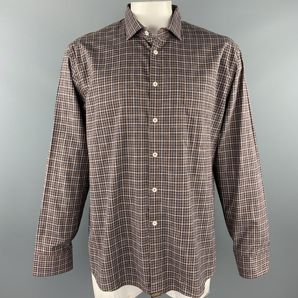 BILLY REID Size XXL Brown Plaid Cotton Patch Pocket Long Sleeve Shirt
